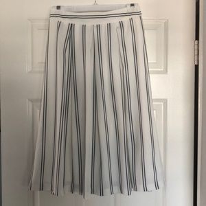 J.O.A. White and Navy Striped A Line Midi Skirt